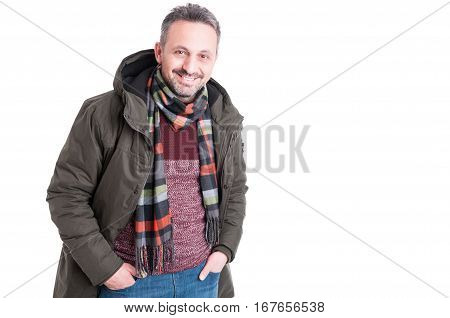 Man Posing Wearing Winter Casual Clothes