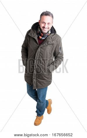 Man Posing Walking In Winter Casual Clothes