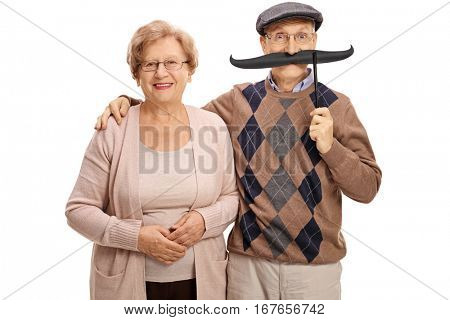 Mature woman and a mature man with big fake moustache isolated on white background