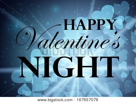 Happy Valentine s Day party background. Nightsky with stars and hearts. Invitation card design.