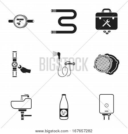 Plumbing set icons in black style. Big collection of plumbing vector symbol stock