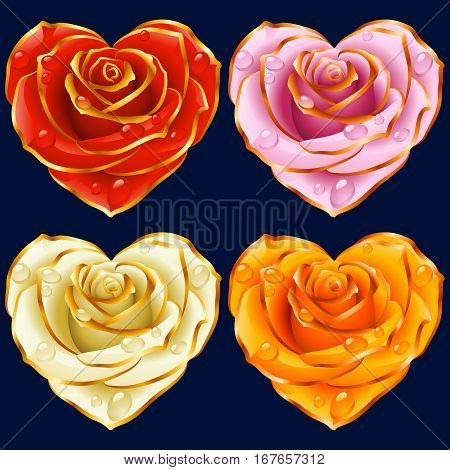 Cute Rose Heart Icons set. Red, yellow, pink and white flowers with Gold Trim. Valentines Day, Wedding celebration or Romantic Lovely symbols isolated on dark blue background. Vector Illustration