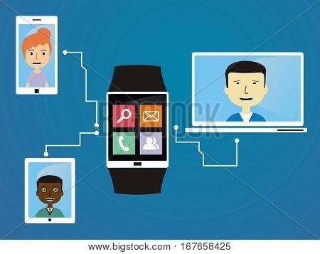 Communication technology. people communicate via wearable. vector illustration/