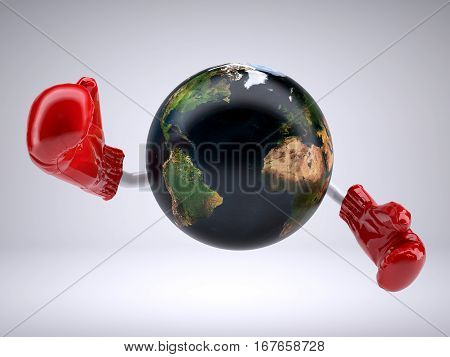 Planet Earth With Arms And Boxing Gloves