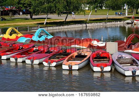 Pedal boats and motor boats have been laid out at the footbridge