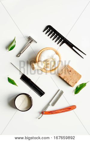Mens hairdressing desktop with tools for shaving top view.