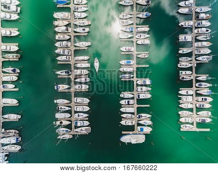 Symmetrical pattern of boats parket at Gulf Harbour Marina, Auckland.