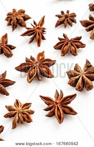Close-up Shot Of Star Anise Flat Lay Pattern Isolated On White, Vertical.