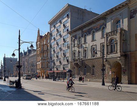 Piotrkowska Street. Lodz, Poland - March 18, 2015 Historic houses on Piotrkowska Street, the most popular street of the city.