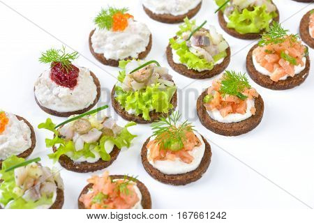 Tasty fish finger food  with smoked salmon tartar, trout mousse with caviar and herring salad on pumpernickel bread