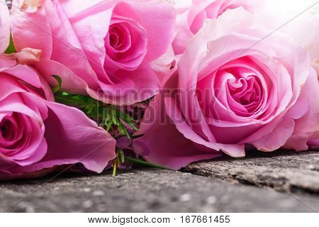three pink roses on a garden table old