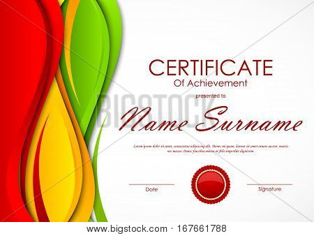 Certificate of achievement template with colorful wavy dynamic swirl background and red seal. Vector illustration