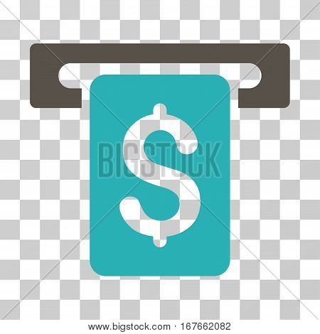 Cash Withdraw icon. Vector illustration style is flat iconic bicolor symbol grey and cyan colors transparent background. Designed for web and software interfaces.