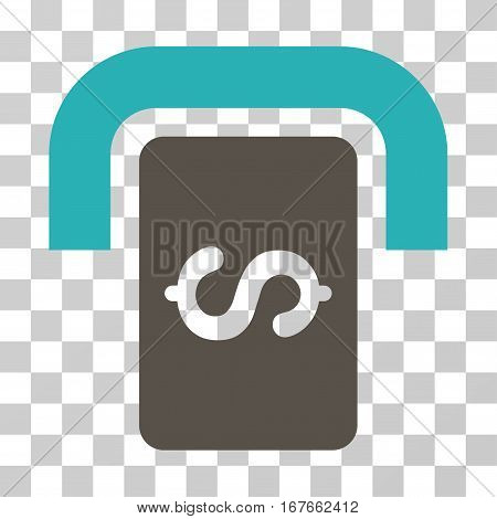 Cashpoint Terminal icon. Vector illustration style is flat iconic bicolor symbol grey and cyan colors transparent background. Designed for web and software interfaces.