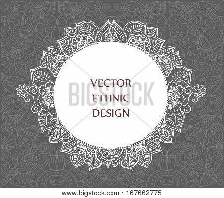Vector round tattoo henna frame. Decorative background for design