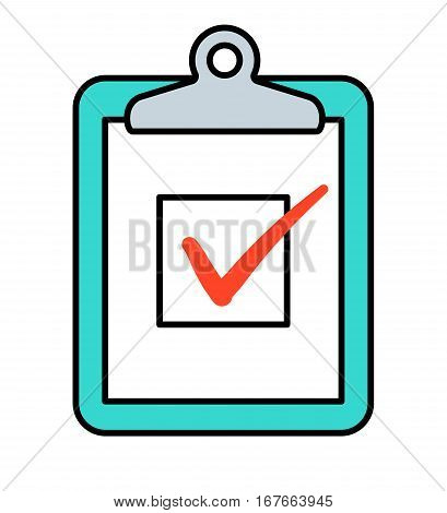 Checkbox with red check marks on clipboard vector icon