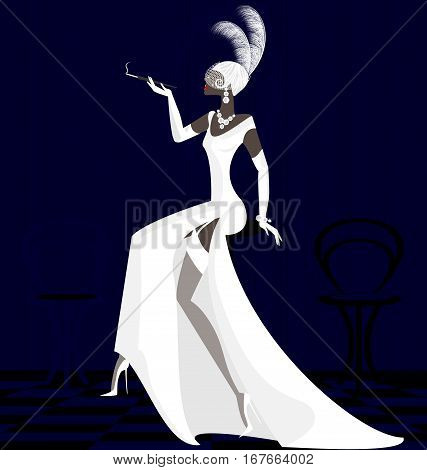 abstract dark interior and smoking stylish woman in white dress