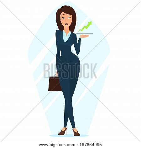 Business woman shows growing chart. Cartoon beautiful girl in office clothes. Vector illustration.