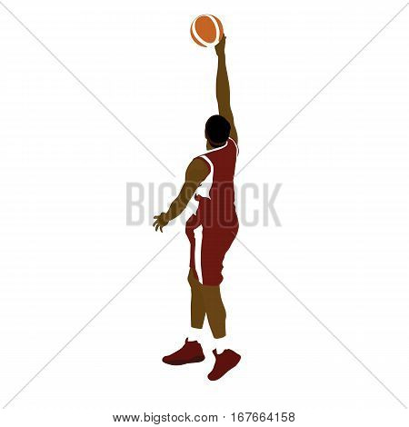 Basketball player with ball finger roll shot. Abstract vector silhouette