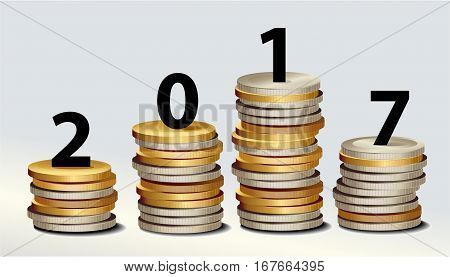 Economic New Year background with coins - vector illustration