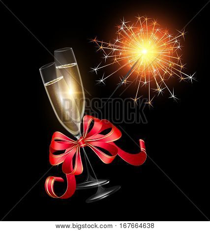 dark background and two glasses of champagne with burning sparkler, red festive bow