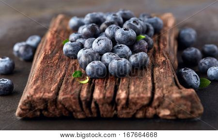Blueberry on a wooden board
