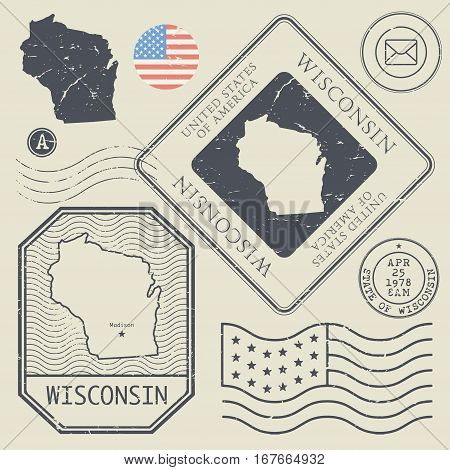 Retro vintage postage stamps set Wisconsin United States theme vector illustration