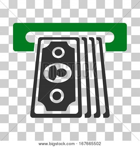 Cashpoint Terminal icon. Vector illustration style is flat iconic bicolor symbol green and gray colors transparent background. Designed for web and software interfaces.