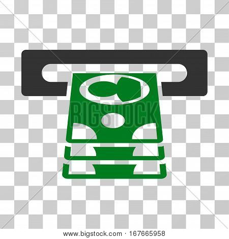 Cashpoint icon. Vector illustration style is flat iconic bicolor symbol green and gray colors transparent background. Designed for web and software interfaces.