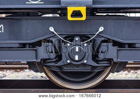 Burgas Bulgaria - January 24 2017 - Wheel - Freight cargo train - 6-axled flat wagon - Sahmmn - WW 604 A- Transvagon AD