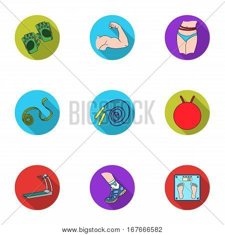 Sport and fitness set icons in flat style. Big collection of sport and fitness vector symbol stock