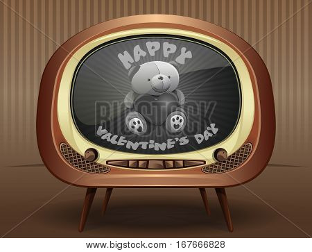 Valentine's Day in the style of the 50s, 60s of the last century. Congratulations to the Valentine's Day by the old black and white TV. Vintage greeting card for Valentine's Day. Vector illustration