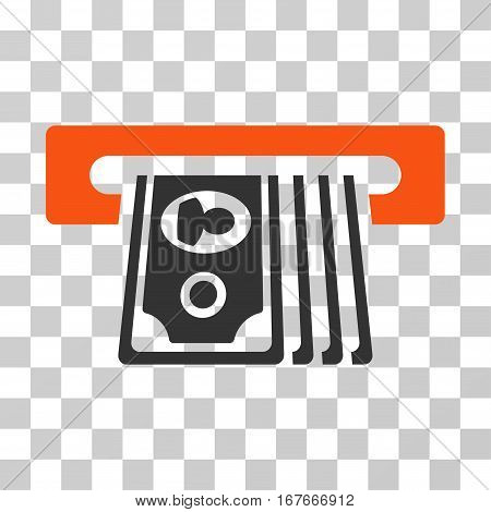 ATM Insert Cash icon. Vector illustration style is flat iconic bicolor symbol orange and gray colors transparent background. Designed for web and software interfaces.
