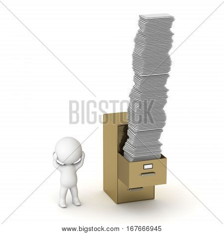 A 3D character and an archive cabinet with many papers. Isolated on white background.