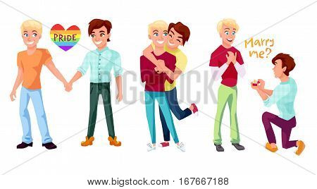 Gay couple concept illustrations set. Two men holding hands hugging and making marriage proposal. Isolated character design on white background.