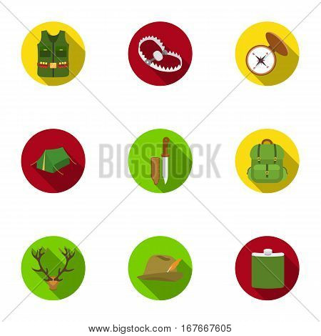 Hunting set icons in flat style. Big collection of hunting vector symbol stock