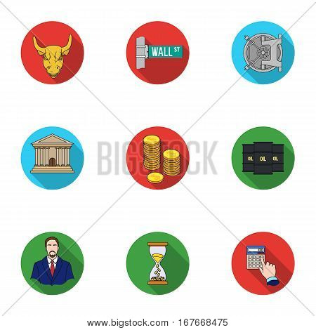 Money and finance set icons in flat design. Big collection of money and finance vector symbol stock illustration