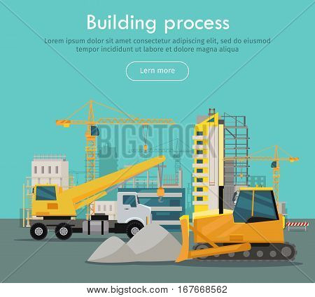 Building process web banner concept in flat style. Unloading of sand. Construction of residential houses banners set. Big building area. Icons of construction machinery. Vector illustration