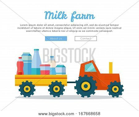 Milk farm concept banner vector flat design. Tractor driven truck with dairy products. Organic farming, traditional products. Clean naturally produced food. Vector illustration in flat style
