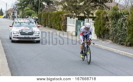 Conflans-Sainte-HonorineFrance-March 62016: The Spanish cyclist Vicente Reynes Mimo of IAM Cycling Team riding during the prologue stage of Paris-Nice 2016.