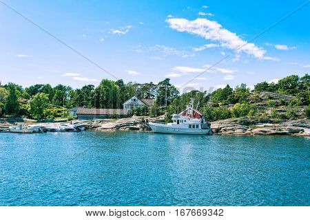Fjord side cabins near Tonsberg Norway Scandinavia