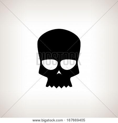 Biker Skull Silhouette Skull on a Light Background Isolatedб Death's-headб Black and White Illustration