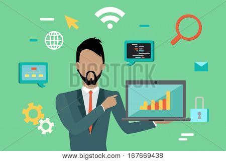 Web design, SEO infographic concept. Man in blue business suit and tie with laptop on green background with communication and design pictograms. Website development project, SEO process information