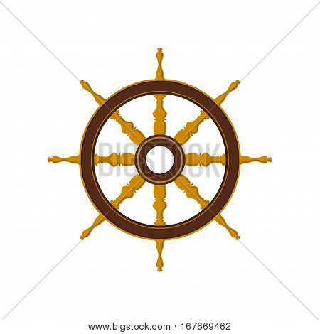 Ships Wheel Isolated on White, Flat Design ,Ship Equipment