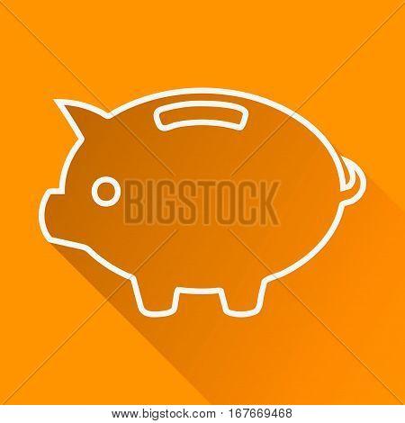 Piggybank flat linear long shadow icon. Piggy bank with coin. Vector line symbol.