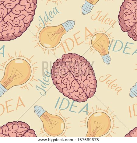Cartoon style layered illustration - cute seamless pattern with happy Light Bulb Idea and brain.