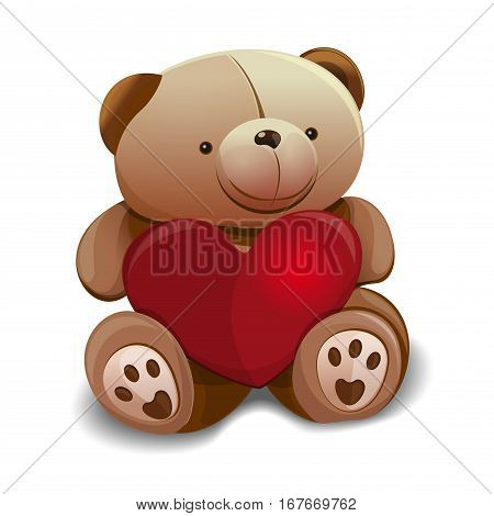 Teddy bear holding a heart in paws. Cute teddy bear with heart. Vector illustration