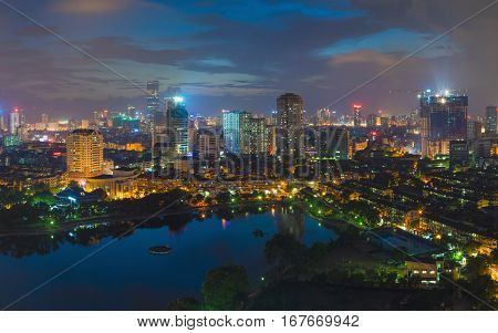 Aerial View Of Urban Skyline At Twilight. Hanoi Cityscape. Thanh Cong Lake View