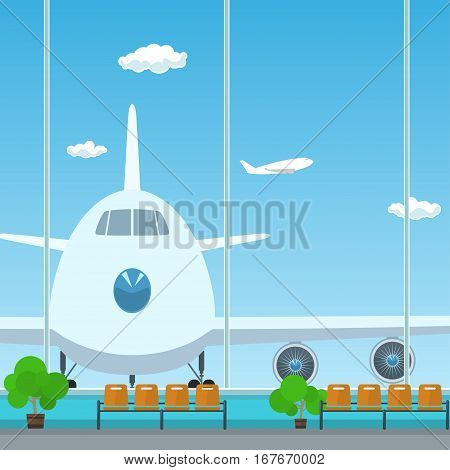Waiting Room in Airport, View on Airplane through the Window from a Waiting Room, Travel Concept ,Flat Design