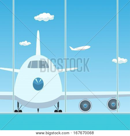 View on Airplane through the Window from a Waiting Room ,Travel Concept, Flat Design